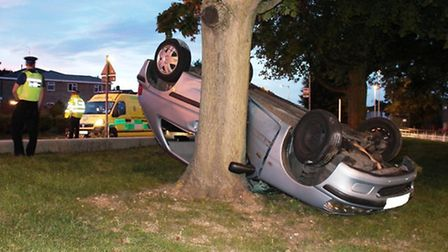 The car came to halt on its roof in the grounds of The Nobel School, Stevenage