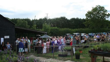 Attendees outside the barn