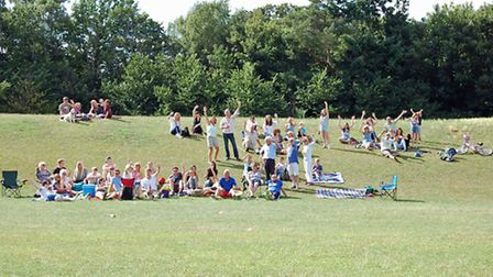 Residents celebrate the village green status awarded to Benslow Fields in Hitchin