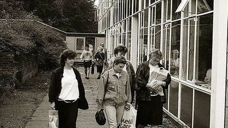 Sixth formers on their way to class in around 1980, ahead of the school's closure in 1983