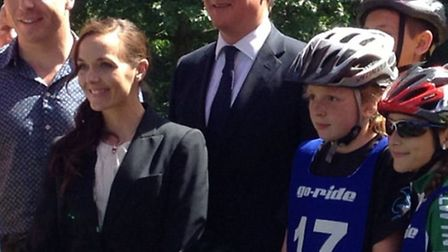 Cyclist Lauren Higham (far right) with fellow competitors and, left to right, Sir Chris Hoy, Victori