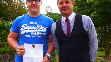 A-level student Max Turner with head of sixth form at HRS, Matt Fletcher