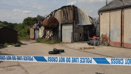 The scene of the fire at a small industrial unit at Hatfield Park Farm.