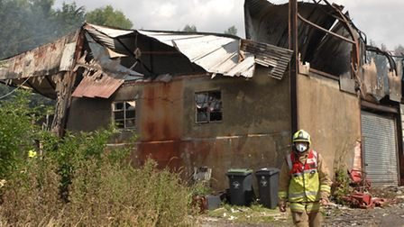 Firefighters were still damping down at the scene this afternoon (Thursday).