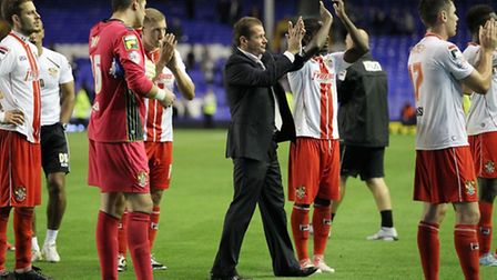 Graham Westley and his players thank the Stevenage faithful for their support