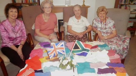 Left to Right sheltered housing officer Marléne Pike, residents, Sheila Baird, Joan Lamb and Doreen