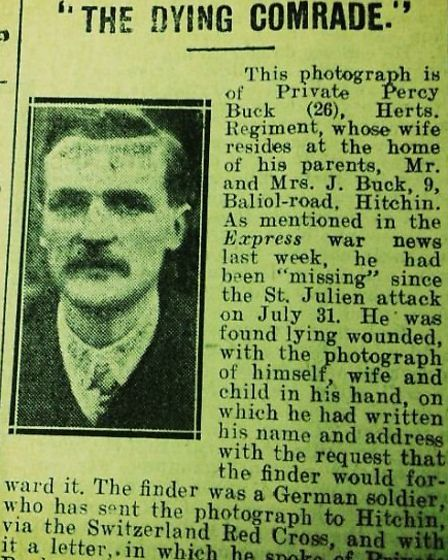 A newspaper clipping from The Hertfordshire Express following the death of Private Percy Buck