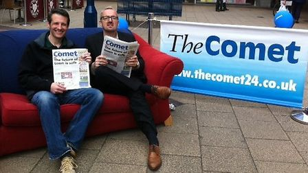 Comet editor Darren Isted (right) with Letchworth town centre manager Lee Boswell when the couch vis