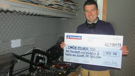 Chris Clout held a 24-hour DJ mix and raised over £1,200 for Cancer Research UK.