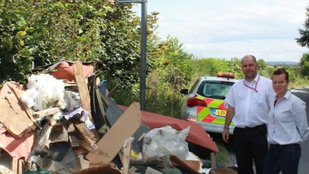 David Furr and Cllr Faye Barnard in ***, where rubbish was flytipped