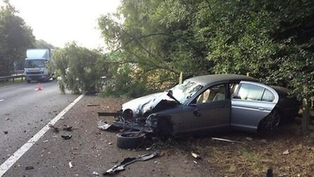 The car which was in collision with a tree.Picture: Tony Robinson