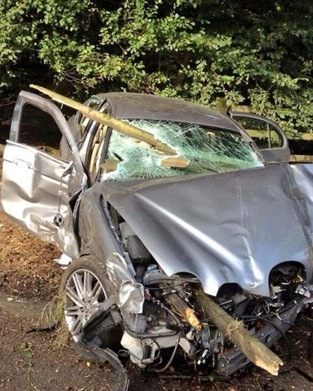 The mangled car, which was in collision with a tree. Pic: Tony Robinson