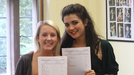 Sophie Perks (left) and Jade Findlater celebrate dtheir results at St Francis College in Letchworth