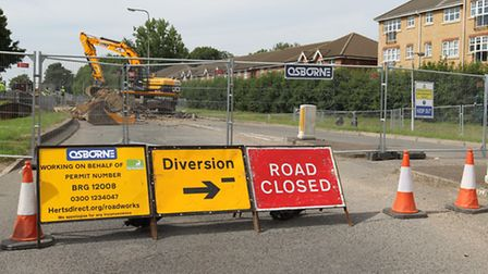The roadworks in Six Hills Way, Stevenage, are not expected to be complete until mid-December