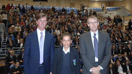From left, Olympian Ben Maher, Adele Rand, 13, and headteacher John Hartley.