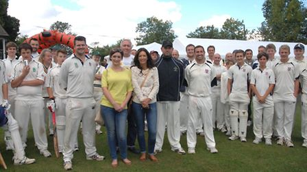Thaxted, Lindsell and Thorley cricket clubs at the T20 charity event. Front, from left, Mark Dellow,