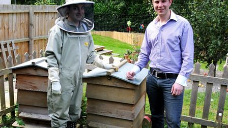 Beekeeper Paul Allington and Dominic Parry, owner of The Saffron Ice Cream Company.