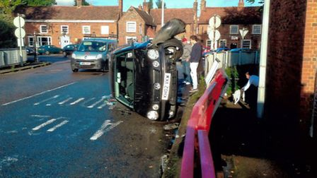 The crash which occurred on James Way in Stevenage last week