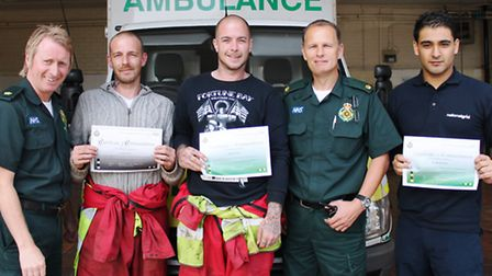 Picture left to right – Gary Sanderson media relations manager for EEAST, Clayton Pearce, Dave Owen,
