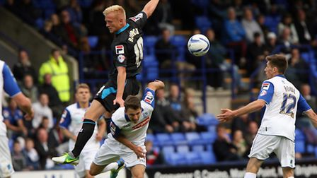 Jordan Burrow in recent against at Tranmere Rovers. Picture By Stuart Bogg Imaging.