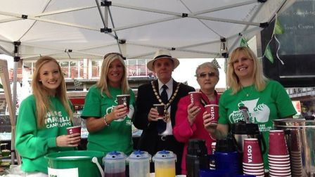 Stevenage town centre manager Tracey Parry (second from left) with Stevenage mayor and mayoress Jack