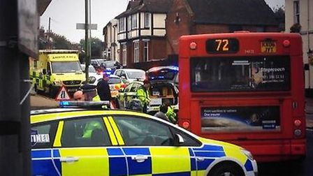 Emergency services at the scene of Bancroft and Fishponds Road, Hitchin. Photo taken by Ethan Dale L