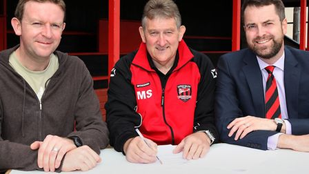 Saffron Walden Town FC chairman Melvyn Seymore (middle) and vice chairman Martin Johnson (right) wit