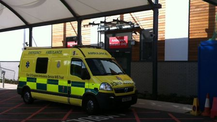 An ambulance outside the new wing of the Lister Emergency Department