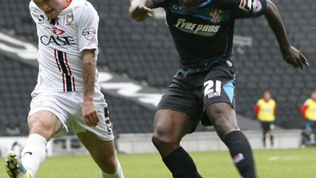 Oumare Tounkara of Stevenage shoots wide at MK Dons. Photo:Kevin Coleman 2013