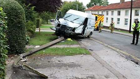 A van was in collision with a car and lamppost in Letchworth. Pictures supplied by EEAST