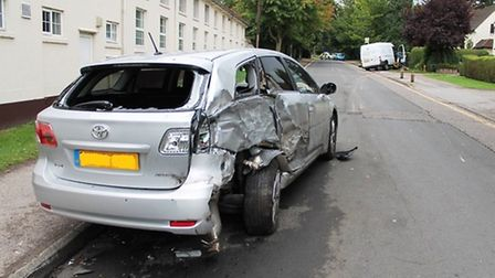 A van was in collision with a car in Letchworth. Pictures supplied by EEAST