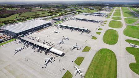 Stansted Airport, aerial view of main terminal building
