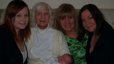 From left to right: Jessica Bacon, 20, Audrey Luckett, 83, Julie Sullivan, 59, Cherie Bacon, 40, and