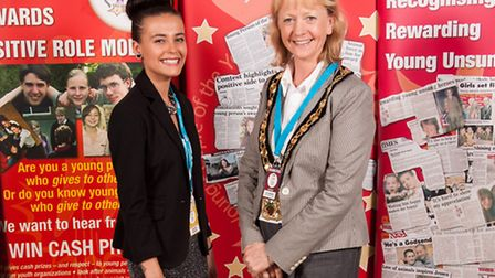 Chloie Duguid with North Herts District Council chairman, Cllr Jane Gray