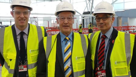 From left, Chris Wiggan, Stansted Airport's head of public affairs, Sir Alan Haselhurst MP and Neil