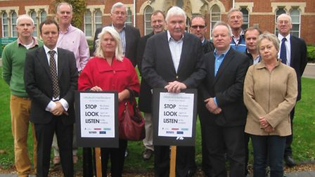 Campaigners outside the offices of Uttlesford District Council.