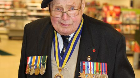Stan Stokes collecting in Sainsbury's for the Poppy appeal