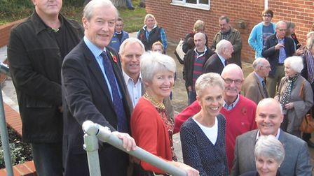 On the steps of the new patio, from left, Sir Alan Haslehurst MP, Diana Frost, Sally Rowden, Zoe Hoa