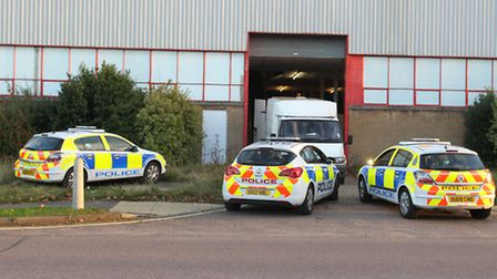 Police at the scene of a cannabis Factory in Works Road, Letchworth