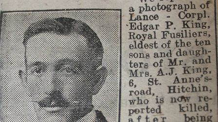 A article published in the Hertfordshire Express following the death of lance corporal Edgar King