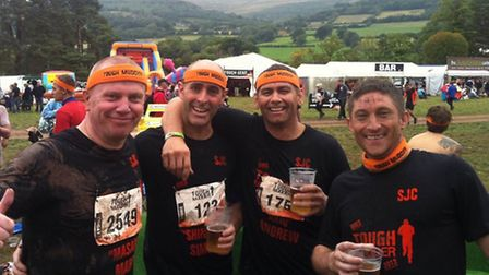 Mark Varty, Simon Banks, Andrew Murray and Danny Conboy after completing Tough Mudder