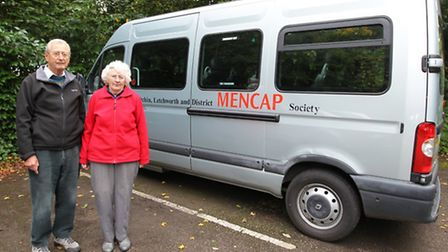 Derek Salter and his wife Olwen Salter with the mini bus