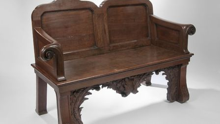 The George II mahogany bench (sold for £37,000).