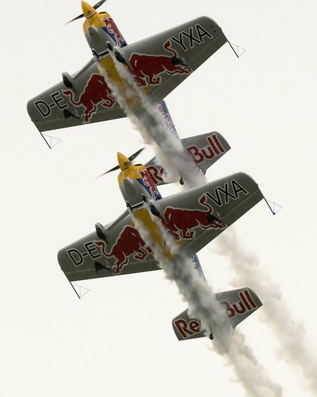 The Red Bull Matadors excited the crowd with their thrilling aerobatics.