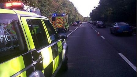 One lane was closed following the crash. Credit: East of England Ambulance Service Trust