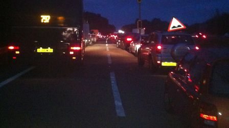 Traffic backs up on the A1(M) after last night's crash
