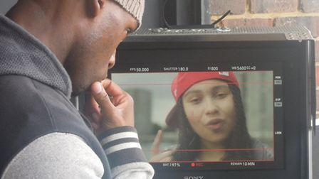 Director Greg Francis watches Gabz in action during filming for Lie There