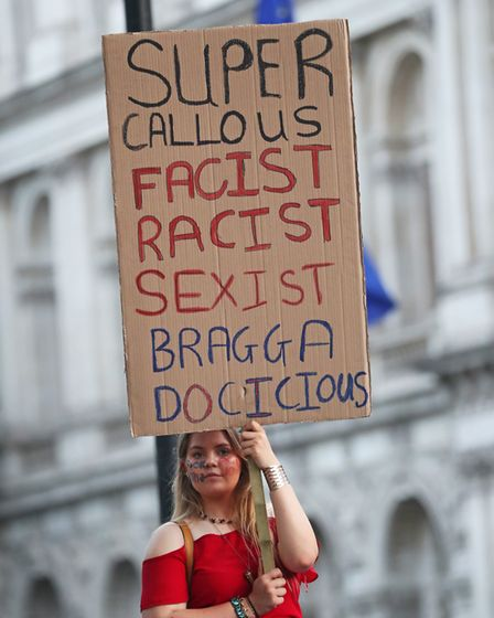 An anti-Boris Johnson protest at the gates of Downing Street. Photograph: Steve Parsons/PA Wire