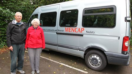 Derek Salter and his wife Olwen with the minibus