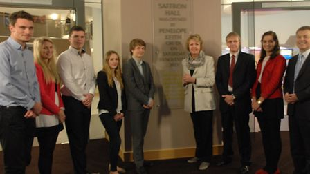Penelope Keith (fourth from right) unveiled a plaque at the official opening of Saffron Hall.